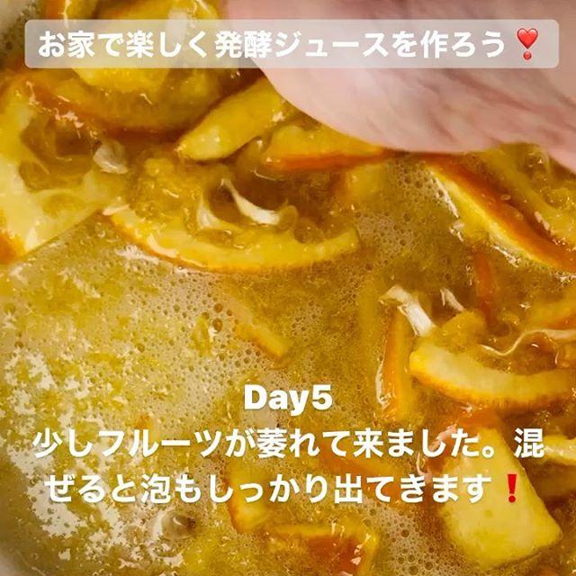 こんにちは!.#ステイホームがんばろう#発酵ジュース.手作り発酵ジュースのDay5浮いてるフルーツが少し萎れて来ました。フルーツが浮いてる感じも、フワッと「浮いてるな〜」と手で触って感じます。.少し混ぜるだけで、細かい泡が沢山出て来ます。味見をすると、甘みの角がとれてまろやかになって来ました!発酵ピークまで、もう少しです.#healthyfood#medicinalfood#fruits#miso#日本を元気にするご飯#ヘルシーフード#手作り発酵ジュース #発酵 #発酵フルーツ #発酵リビングフード#温活 #イライラ #ストレス緩和#薬膳 #中医 #手作り味噌体験#発酵麹調味料 #発酵麹調味料マイスターhttps://dodonosora.jp/https://chuigaku-cocokara.jp/magazine/cook/